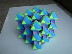 Tomoko Fuse Unit Origami Dual Triangles 4-unit Green Blue Purple Green Blue Black stage 5 - 1