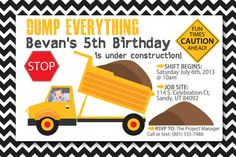 Construction Truck Invite Fully Customizable #sprinkledjoy