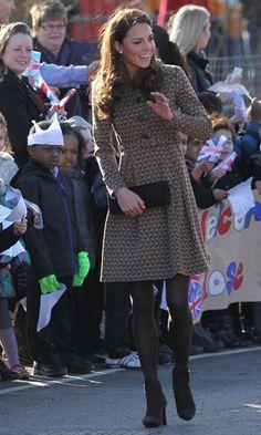 Kate Middleton in half price bird-print Orla Kiely coat.