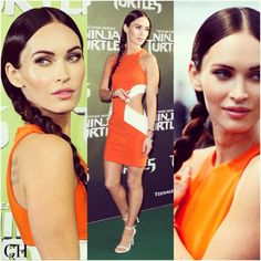 #MeganFox turned heads at the TMNT premiere with a sleek sophisticated plait  Get the look with #geehairextensions > Shop'em at geehair.com.