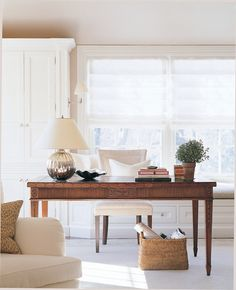 Beautiful Home Office Space! Designed by Orrick and Company. Love the perfect amount of light in the office that of course would have an ocean view of the Bay or beach Decor, Warm Interior, Furniture, House Design, Home, House Interior, Home Office Design, Interior Design, Office Design