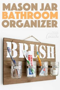 Organize your bathroom with this mason jar bathroom organizer for toothbrushes. Optimize your storage and counter space with this wall hang. Organize your bathro Wine Bottle Crafts, Mason Jar Crafts, Mason Jar Diy, Diy Hanging Shelves, Floating Shelves Diy, Mason Jar Bathroom, Bathroom Ideas, Bathroom Updates, Small Bathroom