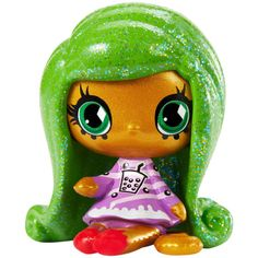 Mini Jinafire has curly green hair with sparkly highlights. She has a gold complexion and jade green eyes with blue dotted eyeliner. Her candy-themed outfit has purple and pink stripes, black bubbl… Monster Party, Mini Monster, Monster High Birthday, Monster High Dolls, Vinyl Figures, Action Figures, Minis, Party Pops, Themed Outfits