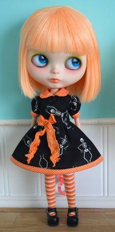 Halloween Skeletons Dress for Blythe by LaPetitePamplemousse