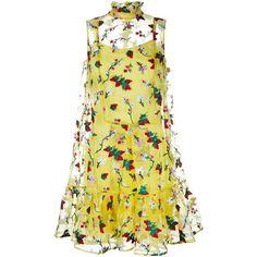 Erdem Strawberry Embroidered Sleeveless Tasha Dress ($1,195) ❤ liked on Polyvore featuring dresses, vestidos, yellow, beige slip dress, embroidered flower dress, flounce hem dress, flower dress and beige silk dress