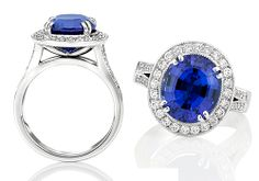 Oval Tanzanite and Diamond Cluster Ring A brand new piece by Natalie Barney Jewellery Design, this engagement ring showcases a spectacular large oval Tanzanite surrounded by round brilliant diamonds. Diamond milgrained split bands add a vintage look. Available in YG with WG inlay, WG and Platinum Can be made with other coloured centre stones Starting at AU$8,500 in 18ct White Gold.