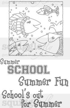 """Summer School"" digi stamp by Diana Garrison on squigglefly.com"