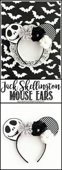 No-Sew Jack Skellington Mouse Ears