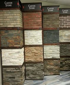 We now carry Canyon Stone! Available in various lightweight manufactured stone veneers faux stone sidings & natural stone veneer panels they're designed for use in both interior & exterior walls by celebretile Canyon Stone, Faux Stone Siding, Stone Cladding Exterior, Stone Veneer Exterior, Stone On House Exterior, Stone Facade, Exterior Wall Panels, Exterior Wall Design, Front Wall Tiles Design