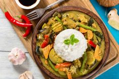 Stock photo - vegetarian curry with rice, coconut, ginger, soy sauce top view Vegetarian Curry, Top View, Soy Sauce, Avocado Toast, Guacamole, Coconut, Rice, Breakfast, Ethnic Recipes