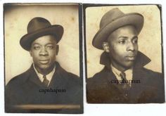 1940s Photobooth Photos African American Men in Hats