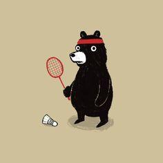 Badminton Bear Art Print