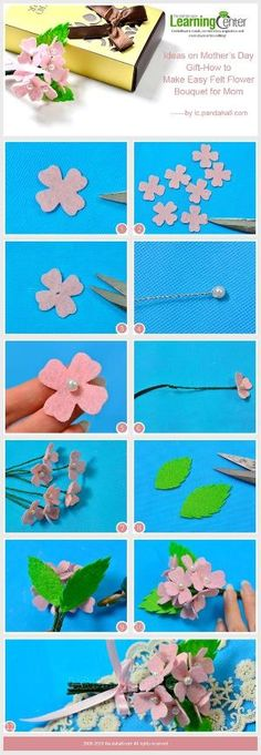 Ideas on Mother�s Day Gift-How to Make Easy Felt Flower Bouquet for Mom from LC.Pandahall.com #pandahall | DIY Jewelry & Crafts 2 | Pinterest by Jersica