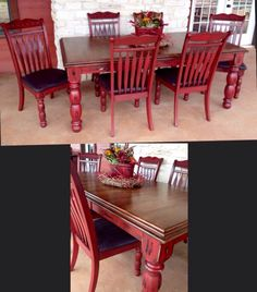 Dining Set in Java Gel Stain and Brick Red Milk Paint | table ...