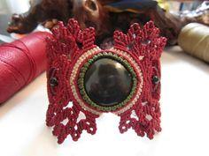 Handmade Black Onyx Wrisband Macrame Gemstone Bracelet. $58,00, via Etsy.