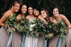 bridesmaids wearing inexpensive gray dresses with blue accents Menorca, Big Sur Beach, Mumu Wedding, Pastel Bridesmaid Dresses, California Wedding Venues, Wedding Colors, Green Wedding, Bridesmaids And Groomsmen, Wedding Images