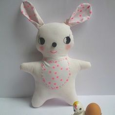 billy bunny pale pink. Could be  tooth fairy pillow. Make a pocket on the belly.