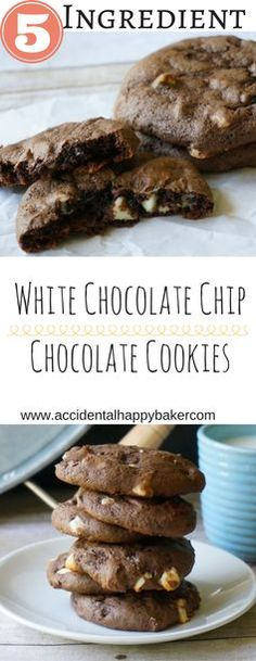5 ingredient white chocolate chip chocolate cookies. With a subtle background of banana flavor, these light, chewy and chocolately cookies are simple and delicious