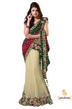 Cream and Green Colored Beautiful Embroidered Net Lehenga Saree Party Wear Dresses, Party Wear Sarees, Lehenga Style Saree, Lehenga Choli, Georgette Sarees, Wedding Saree Collection, Sarees Online India, Ethnic Sarees, Designer Sarees Online