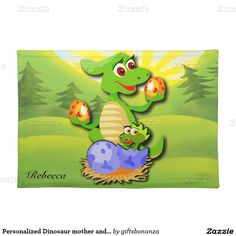 Personalized Dinosaur mother and baby cartoon Cloth Place Mat
