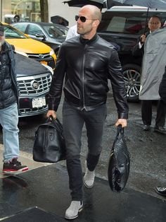Mens boots fashion Men dress Jason statham Mens fashion Mens outfits Bald men style - GQs 52 Favorite Outfits from 2016 - Jason Statham, Mens Boots Fashion, Mens Fashion Suits, Stylish Men, Men Casual, Bald Men Style, Style Masculin, Leather Jacket Outfits, Leather Jackets