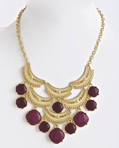 Colorblocked Bauble Necklace Burgundy | www.popofchic.com