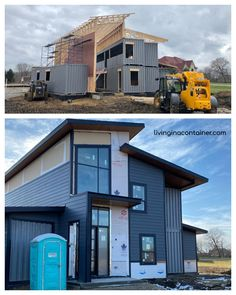 Build Container Home 608971180852317286 - The Ebeling House is a sf residential home currently under construction in Bruce Twp, MI. It is made from 6 shipping containers which were set in just 6 hours in degree weather in early Spring of Source by Shipping Container Home Designs, Cargo Container Homes, Building A Container Home, Shipping Container House Plans, Container Buildings, Container House Design, Shipping Containers, Usa Living, Container Homes Australia