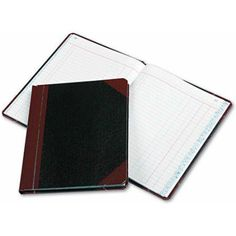 Boorum & Pease Record/Account Book, Journal Rule, Black/Red, 150 Pages, 9 5/8 x 7 5/8