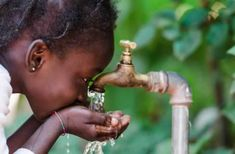 Clean Fresh Water Scarcity Symbol: Black Girl Drinking From Tap. Stock Image - Image of clean, city: 84487355