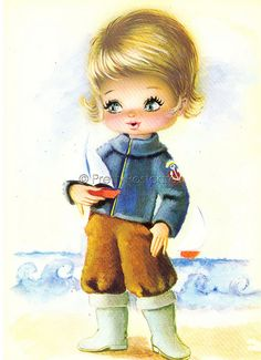 Vintage postcard from the 70s   Big Eyed Boy   PrettyPostcards   Flickr