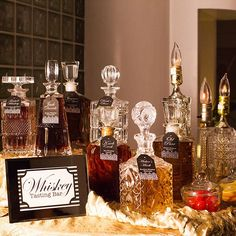 A variety of whiskeys decanted into beautiful crystal bottles with descriptive tags Speakeasy Party, Gatsby Themed Party, 1920s Party, Great Gatsby Party, Gatsby Wedding, Prohibition Wedding, Wedding Reception, 30th Birthday Parties, 50th Birthday Party