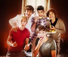 a picture of fetus one direction eating fruit. this is a nice one.