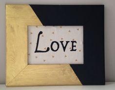 Gold and Black Wooden frame for hanging - LOVE Black Adhesive Letters - Home - Decoration - Trendy - Gold and Black Office Decor de designbyGeja en Etsy