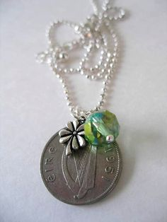IRISH Coin Charm Necklace1951 SILVER Irish by BridgetFainne, $16.00