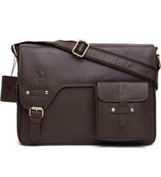 WildHorn Urban Edge Vintage Genuine Leather-Canvas Messenger Bag