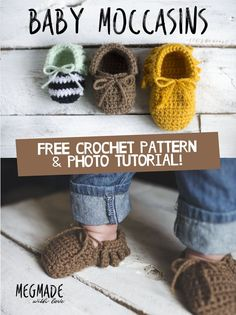 **Find the PDF version of this pattern in my shop by clicking here . Great for easy printing!** I feel like baby moccasins are EVERYWHERE nowadays. But I haven't seen a crochet pattern for this specific style of baby moccs, so I jumped right on creating them!