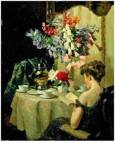 'Tea Time' (1910) by Robert Emil Stübner (1874-1931).
