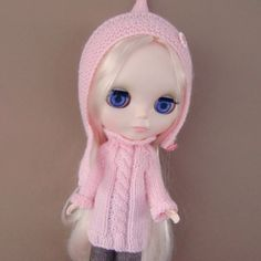 Pink Sweater Dress and Pixie Hat for Blythe by myfairdolly on Etsy, $20.00