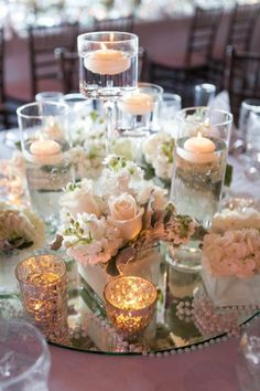 Irish Barn Glam Wedding at Whistling Straits – Floating Candles İdeas. Mirror Centerpiece, Floating Candle Centerpieces, Centerpiece Ideas, Simple Centerpieces, Floating Candles Wedding, Centerpiece Flowers, Wedding Table Centerpieces, Reception Decorations, Quinceanera Centerpieces