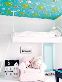 Having the bed the same color as the walls will make the bedroom feel bigger.