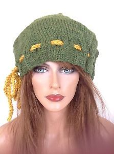 Beanie Hat Slouch Hand Knit Peruvian Wool Designer Fashion Adjustable Tie Hip | eBay