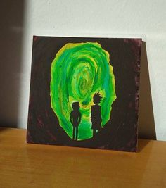 Rick and Morty Portal Cave Art Painting 20x20cm Wall Acrylic #Rick #Morty #RickandMorty #PickleRick #WhiteRaven #EvilMorty #Sale #Etsy #Handmade