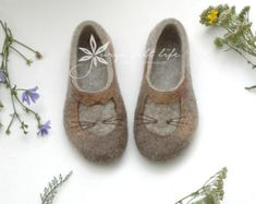 Felted slippers Multilayer sole Woman home shoes by JurgaFeltLife