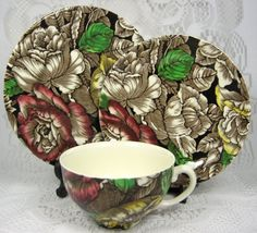 Bermuda Chintz Cup and Saucer With Matching Plate 1930s Myott Ironstone by AntiquesAndTeacups, $48.00