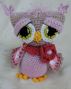 Adorable Owl Crochet Pattern Rosy Owl Amigurumi Softie Toy by Teri Crews