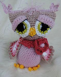Adorable Owl Crochet Pattern Rosy Owl Amigurumi Softie Toy by Teri Crews