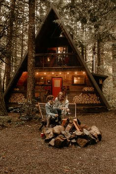 Mt Rainier A-frame Cabin Engagement Photos — %Elopement + intimate wedding photographer A Frame Cabin, A Frame House, Cozy Cabin, Cabin Tent, Camping Cabins, Cabin In The Woods, Through The Window, Humble Abode, Log Homes