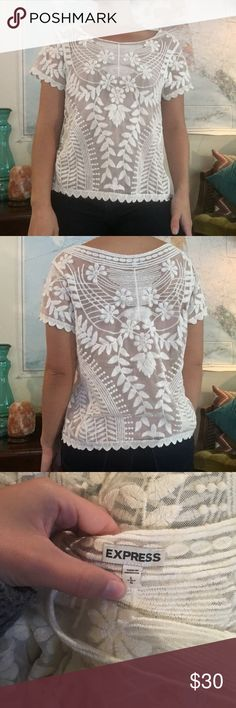 CCO🎀Beautiful Sheer White Floral Lace Top This beautiful crisp white floral lace top has short sleeves and a casual loose fit. No snags stains or holes perfect condition. Looks beautiful layered over a tank or dress. Could even be worn as a bikini cover up. Model is a small for sizing. Express Tops