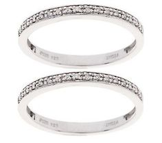 AffinityDiamond 1/10 ct tw Set of 2 Micropave Band Rings, Sterling