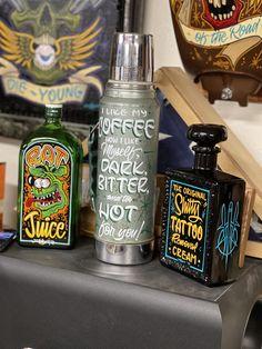 Die Young, Tattoo Removal, Whiskey Bottle, Original Artwork, Cream, Creme Caramel